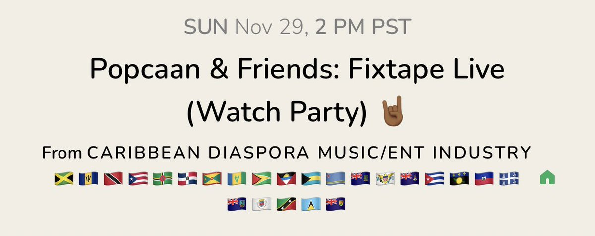 Your to-do list before Sunday:  1. Grab your ticket for @PopcaanMusic's Boiler Room concert () 🇯🇲 2. Join the Caribbean Diaspora Music/Ent Industry group on CH so we can watch together ✨ ()