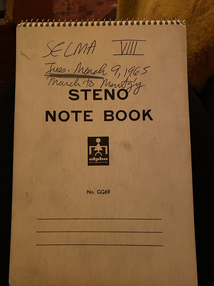 My grandfather passed away in spring on the day after my birthday. We couldn't see him because of the coronavirus.  I'm finding solace in looking at his old work during his years as a reporter. Yesterday, I got this in the mail: his notebook from Selma, Alabama. https://t.co/VduPx07E7B