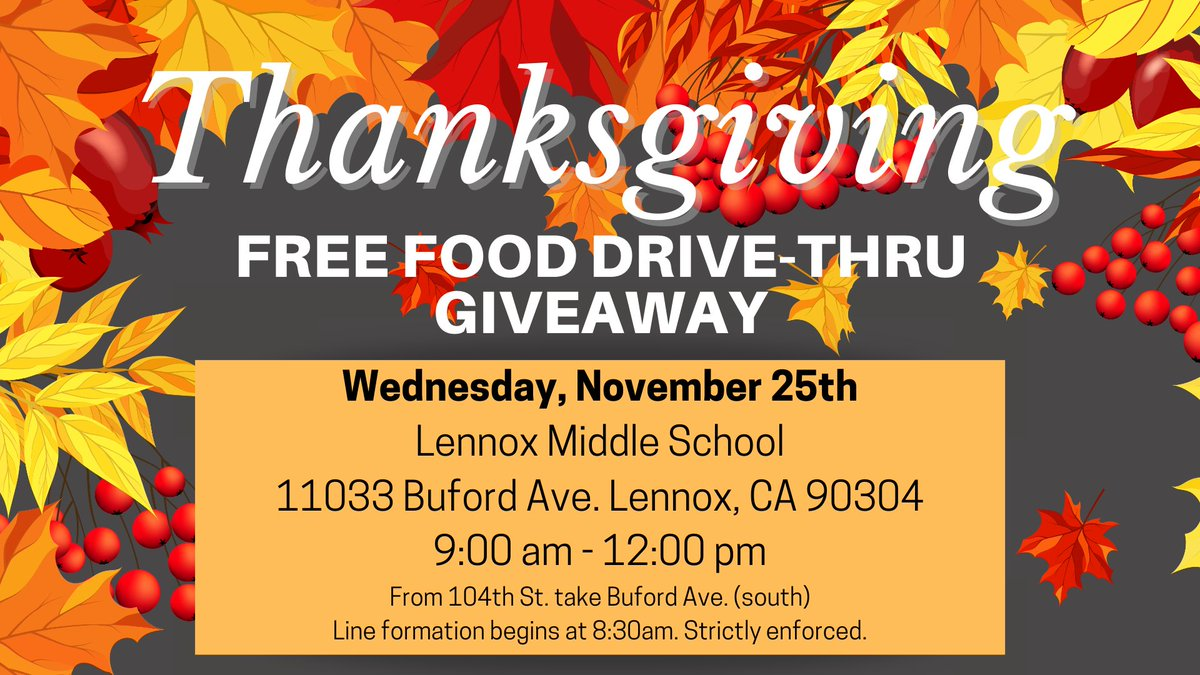Just in time for #Thanksgiving! 🍁 Today, from 9 a.m. - noon, the @LAFoodBank is providing a free food giveaway in Lennox for those in need.  Line formation begins @ 8:30 a.m.  - Drive-thru distribution only  #WeFeedLA