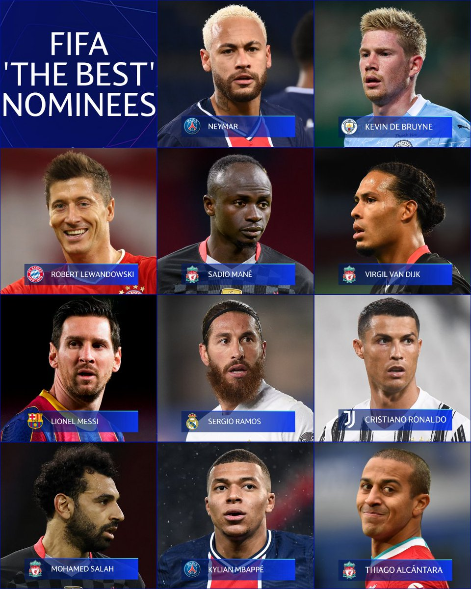 🥇 FIFAの年間最優秀選手候補は全員が #UCL のスター ⭐️  🇪🇸 チアゴ・アルカンタラ 🇵🇹 ロナウド 🇧🇪 デ・ブライネ 🇵🇱 レヴァンドフスキ  🇸🇳 マネ 🇫🇷 エムバペ 🇦🇷 メッシ 🇧🇷 ネイマール 🇪🇸 セルヒオ・ラモス  🇪🇬 サラー 🇳🇱 ファン・ダイク  あなたなら誰を選ぶ?🤔