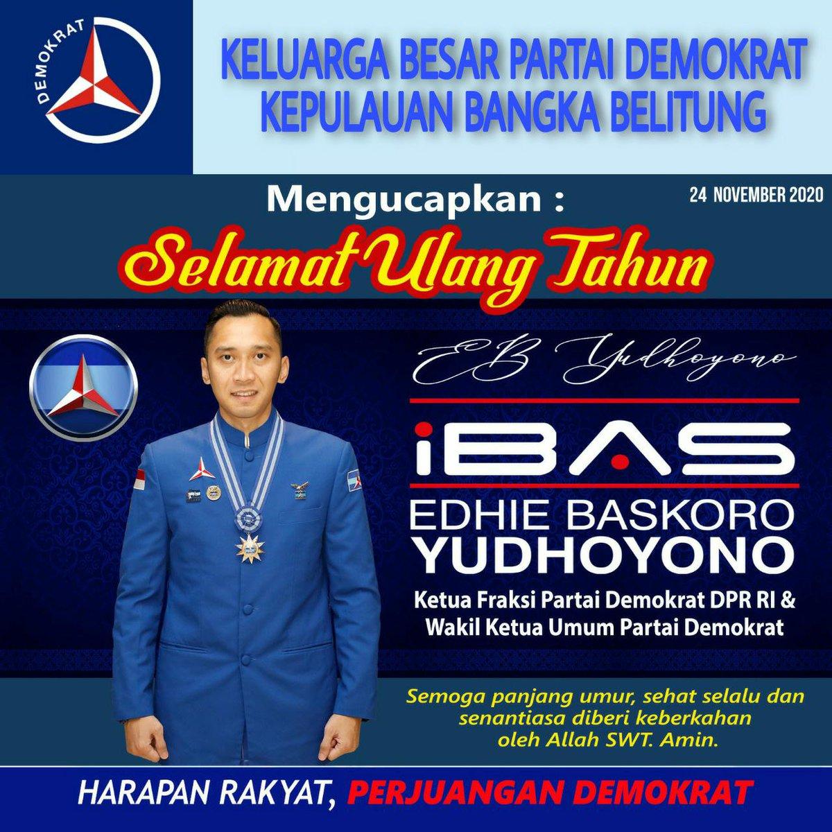 Keluarga besar DPD Partai Demokrat Prov. Bangka Belitung mengucapkan selamat kepada ketua @FPD_DPR yang juga Waketum @PDemokrat, @Edhie_Baskoro yang berulang tahun 24 November kemarin. Semoga selalu diberikan kesehatan dan keberkahan 🙏💙 #latepost #IbasYudhoyono  #PartaiDemokrat https://t.co/5Od7J9gAPA