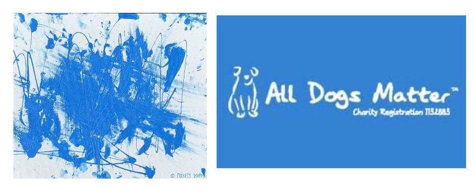 "My painting in beautiful blue ""All Dogs Matter"" on the way to UK for this wonderful group 💙@AllDogsMatter @JaneFallon @rickygervais @PeterEgan6 @FelineFriendsUK @ScarlettBeagle @EstherThePig @WeatherDog3 @AnimalsAsia @Nowzad @WetnoseDay #BeNiceToAnimals #AdoptDontShop"