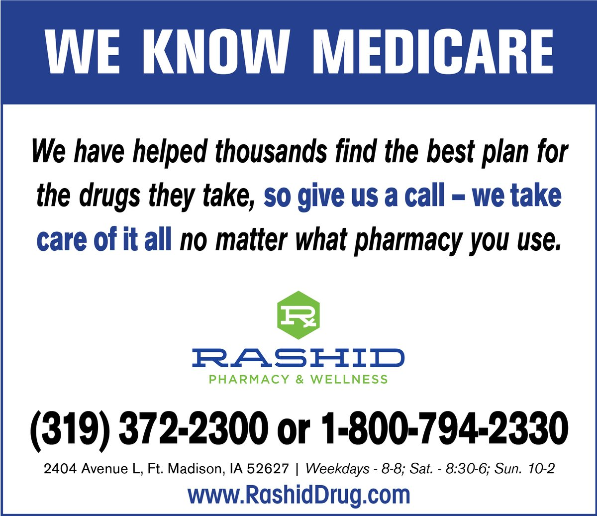 test Twitter Media - If you pay more than $2 for these insulins, you're paying too much: Lantus, Levemir, Humalog, or Toujeo! Give Rashid Pharmacy & Wellness a call & they'll take care of it all. THEY KNOW MEDICARE. 319-372-2300 or 800-794-2330. FREE DELIVERY AND MAILING ALMOST EVERYWHERE. https://t.co/L8VgMgT0tv