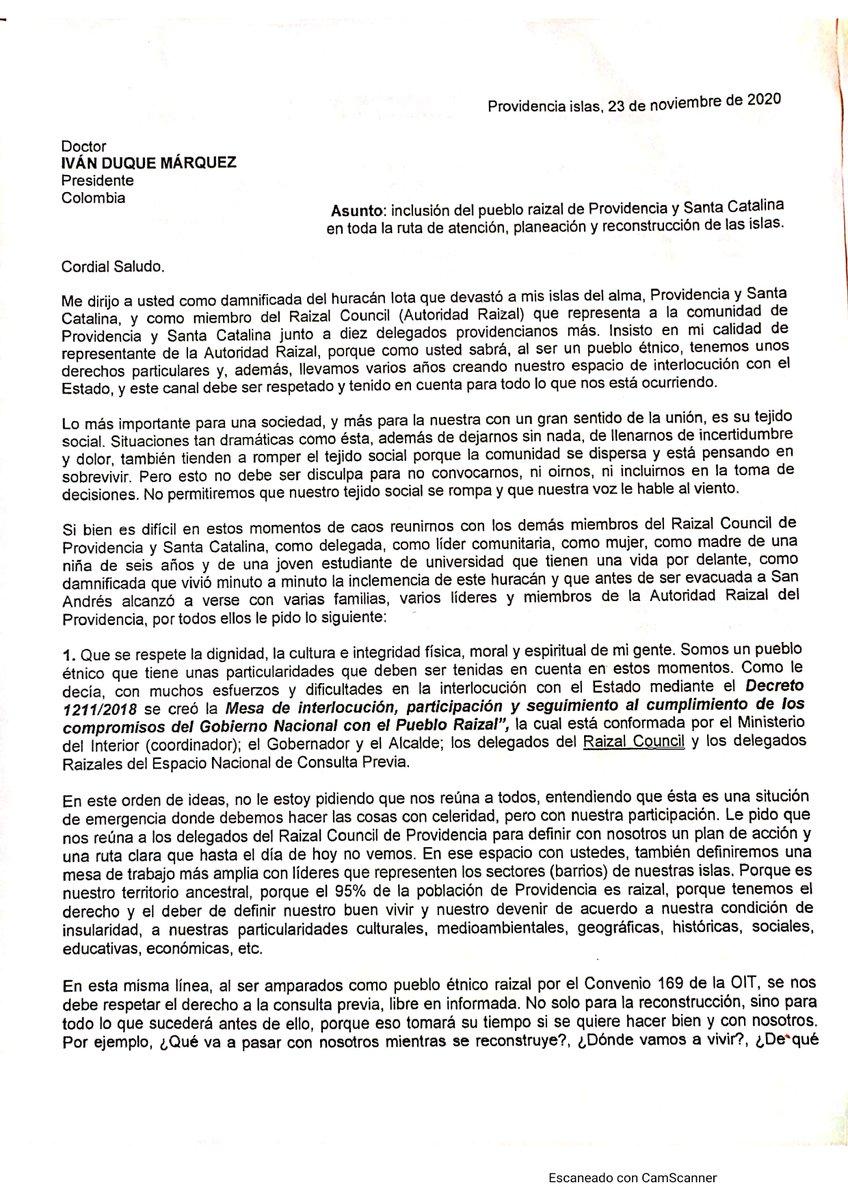 Compartimos el reclamo formal de la Autoridad Raizal al  Presidente Duque en donde exigen la participación de la comunidad en todas las decisiones que se tomen en #Providencia   @PGN_COL @CGR_Colombia @DefensoriaCol  #FiProvidence #SOSSanAndresyProvidencia #HuracanIota