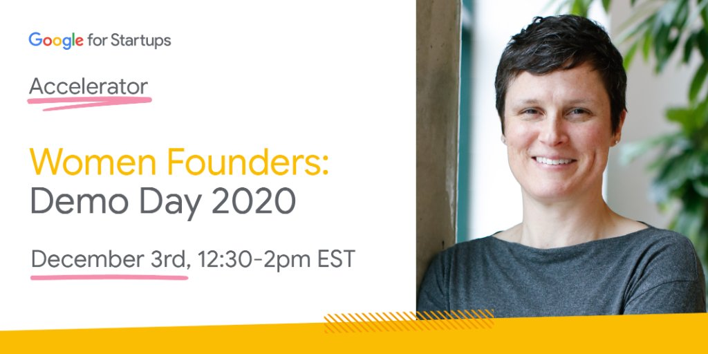 Mark your calendars 🗓️ Demo Day for our Women Founders Accelerator is coming up! Tune in as these 12 #startups from across the 🇺🇸 and 🇨🇦 share their learnings and milestones from throughout the program. RSVP for the event on 12/3 →  #AcceleratedWithGoogle
