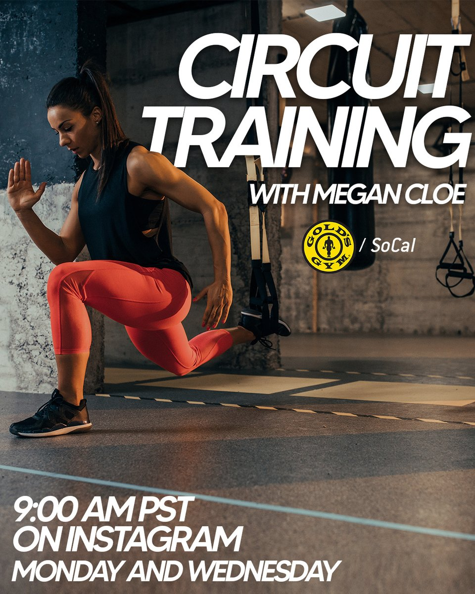 Instagram Live #CircuitTraining starts in less than an hour! Join @GoldsGymSoCal on Instagram Live at 9 AM PST for an amazing workout!⁠ -  Click the link for our full live class schedule.   ⁠ #GoldsGym #GoldsGymSoCal #StayInShape #HomeWorkout