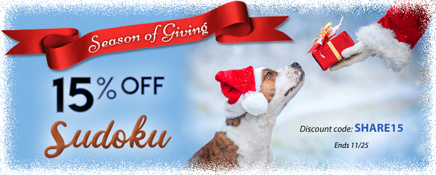 15% OFF Sudoku Ends Tonight! Use code SHARE15 by midnight at . #SeasonofGiving