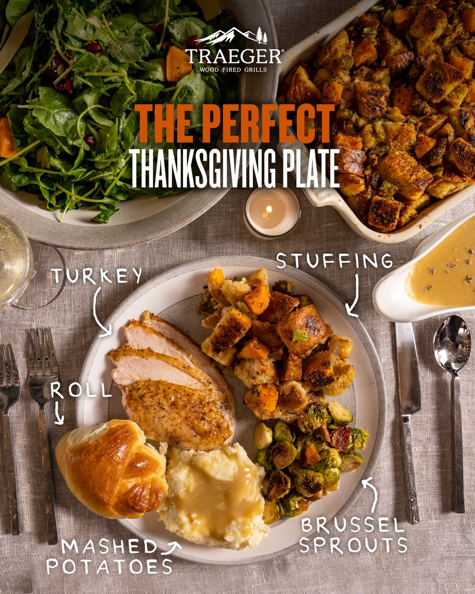 This is our idea of plated perfection, but there's no right or wrong way to feast on Thanksgiving. Show us how you're loading up your plate with #TraegerThanksgiving and get last-minute tips, tricks, and recipes for the big day here: https://t.co/SRJxoLRDL9 https://t.co/kR2dptMfM7