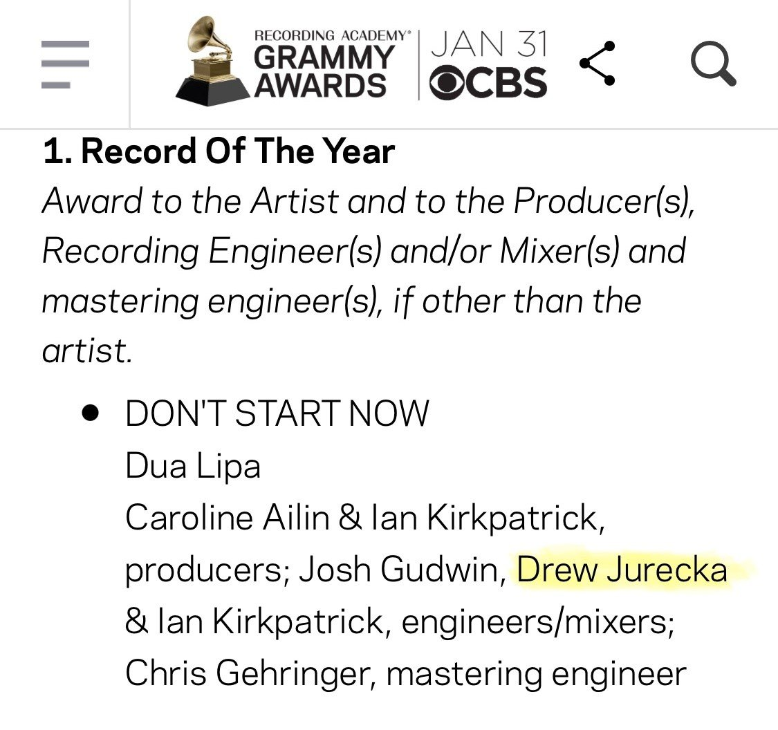 Thrilled to see instructor Drew Jurecka named in this GRAMMY NOMINATION! Drew played on @DUALIPA's album Future Nostalgia, which has just been nominated for *6* Grammy Awards in different categories, including Record of the Year. #HumberMusic #GRAMMYs https://t.co/lzjVxleBct