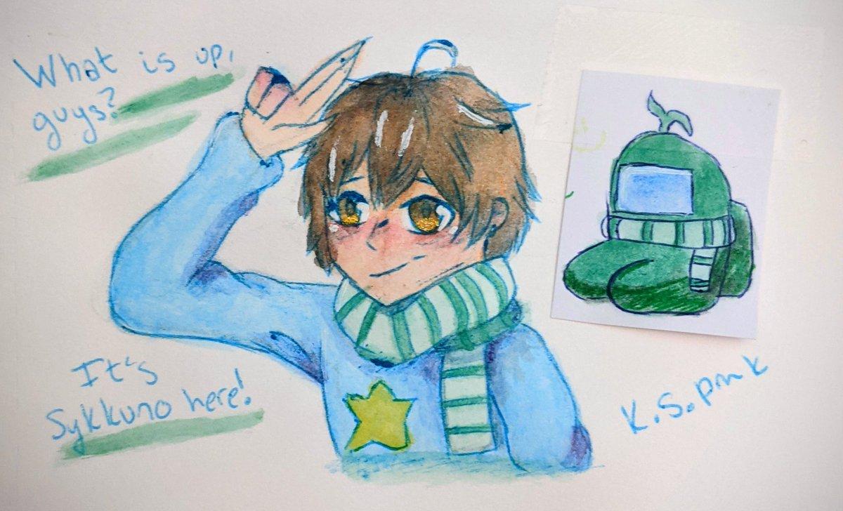 Little drawing of Sykkuno and Minikkuno. I think they look super cute! ~~~ #fanart #hugsforsykkuno #SykkunoFanart #art #watercolor #amongusfanart