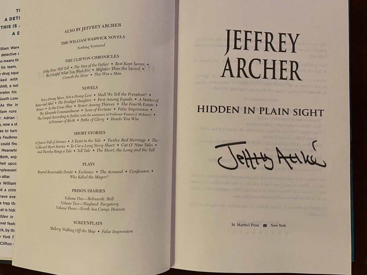 Thank you @Jeffrey_Archer for this wonderful surprise. Honoured to receive a signed copy of your latest book. 🙏🏽