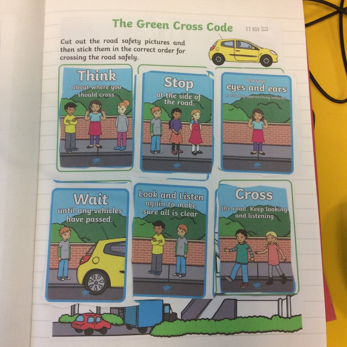 As part of our road safety work last week, our pupils had to order these pictures to show how to cross a road safely! We've been having lots of great discussions about the importance of each step. 😊🚗🚦 #RoadSafety