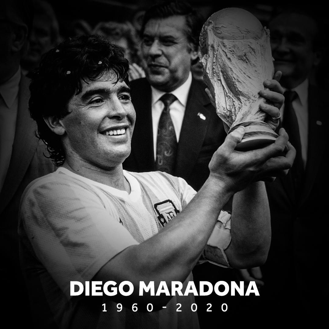 "B/R Football on Twitter: ""BREAKING: Diego Maradona has died, aged 60… """