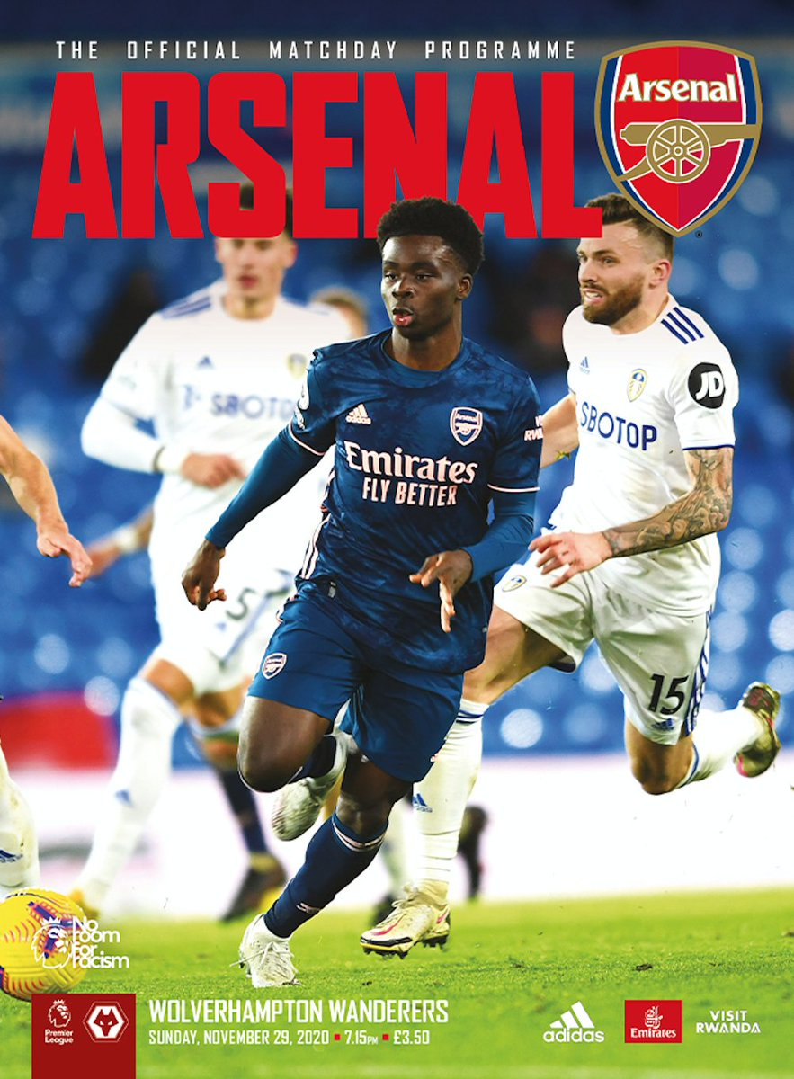 🚨WOLVES PROGRAMME NOW AVAILABLE 🚨  ⌛️Order your matchday collectible by 6pm tomorrow to have posted (1st class) on Friday (UK)  🔴⚪️ Featuring @Aubameyang7 @m8arteta @OficialCedric @DaniCeballos46  Brook Norton Cuffy @JonSpurling1 @Zonal_Marking