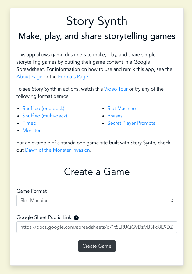 The story synth home page. The top half of the page has example games and the bottom half has a form that lets designers paste a google sheet that will generate a game.