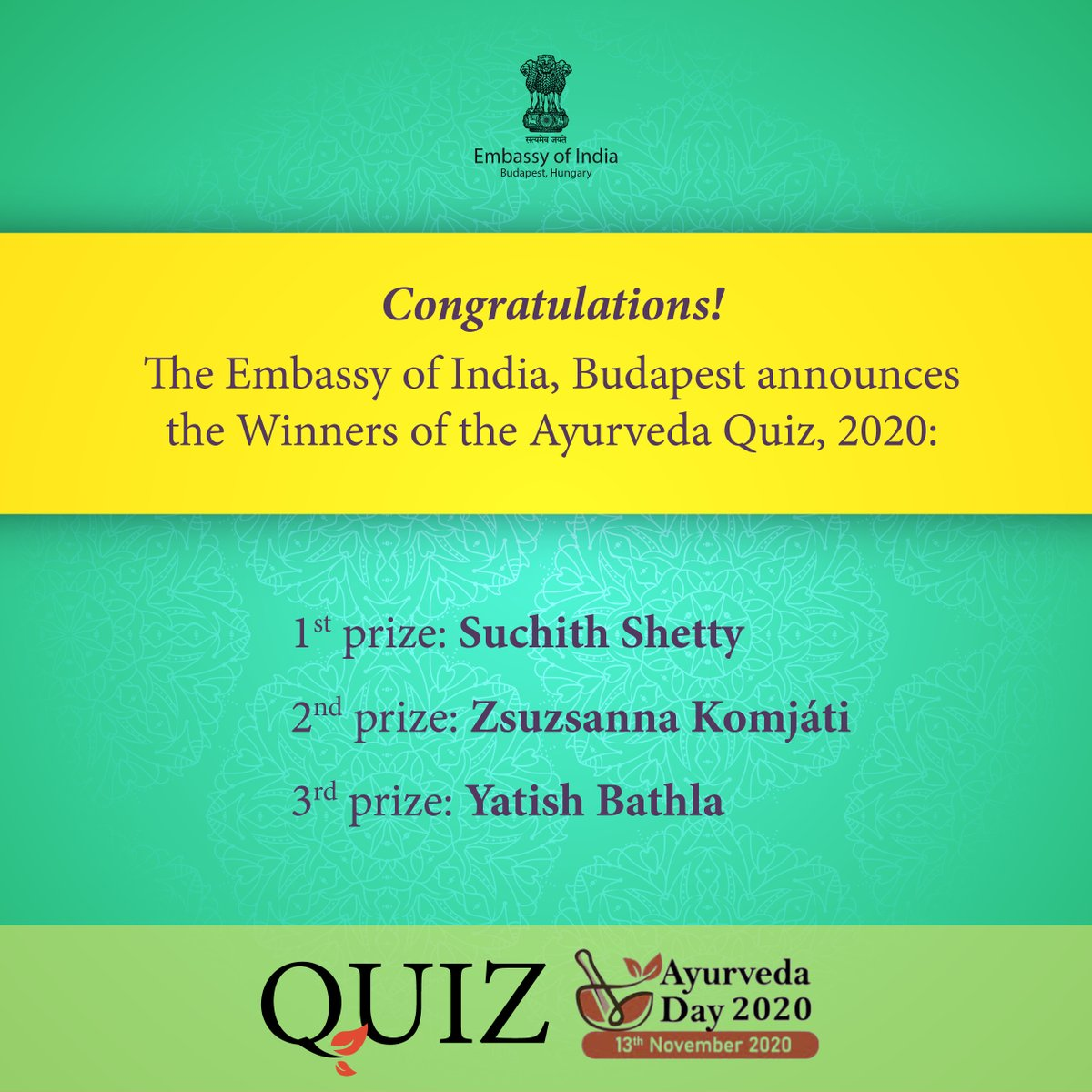 Winners are being contacted soon for collection of their prizes.  #ayurvedaday  #ayurveda4health