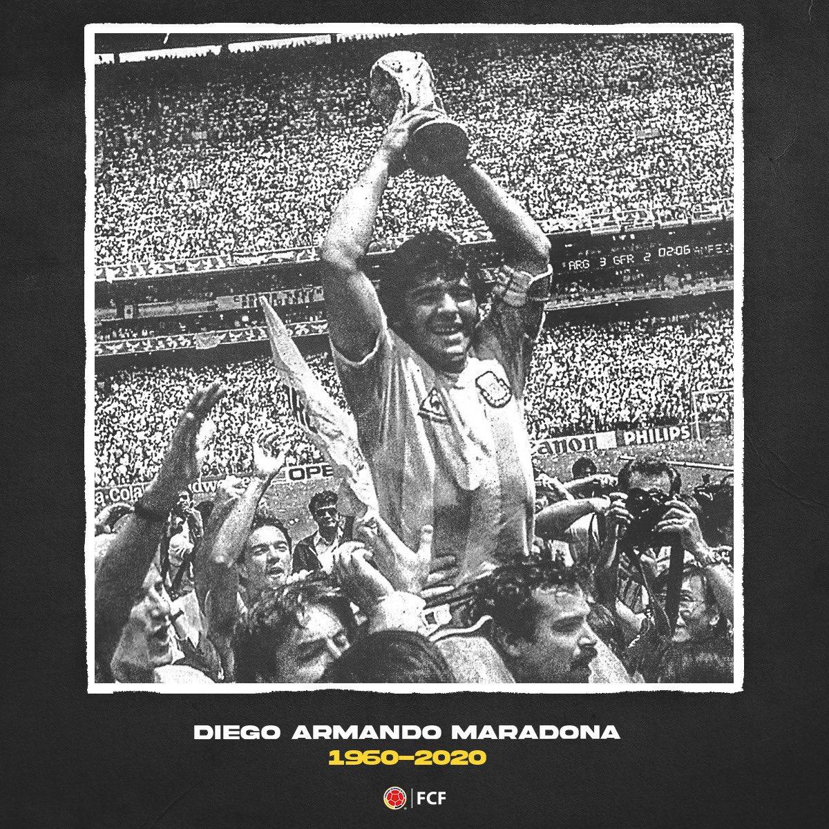 FCF lamenta profundamente el fallecimiento de Diego Armando Maradona. Q.E.P.D.