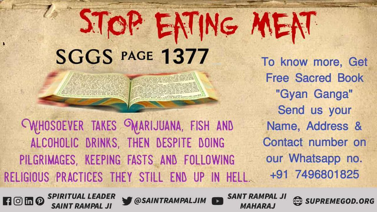 #WednesdayMotivation भगवान ने यह नियम निर्धारित किया है कि सभी मनुष्यों को शाकाहारी होना चाहिए।  अवश्य देखे :-  ईश्वर tv 8:30 pm.