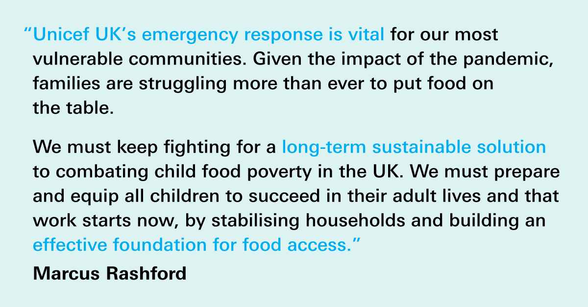 Through 'Food Power for Generation Covid', a joint initiative with @UKSustain we hope to support UK children and families so they can continue to eat well during the pandemic.     Thanks to @UKSustain and @MarcusRashford for your support.