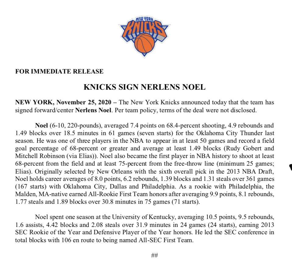 Replying to @NY_KnicksPR: .@nyknicks Sign Nerlens Noel