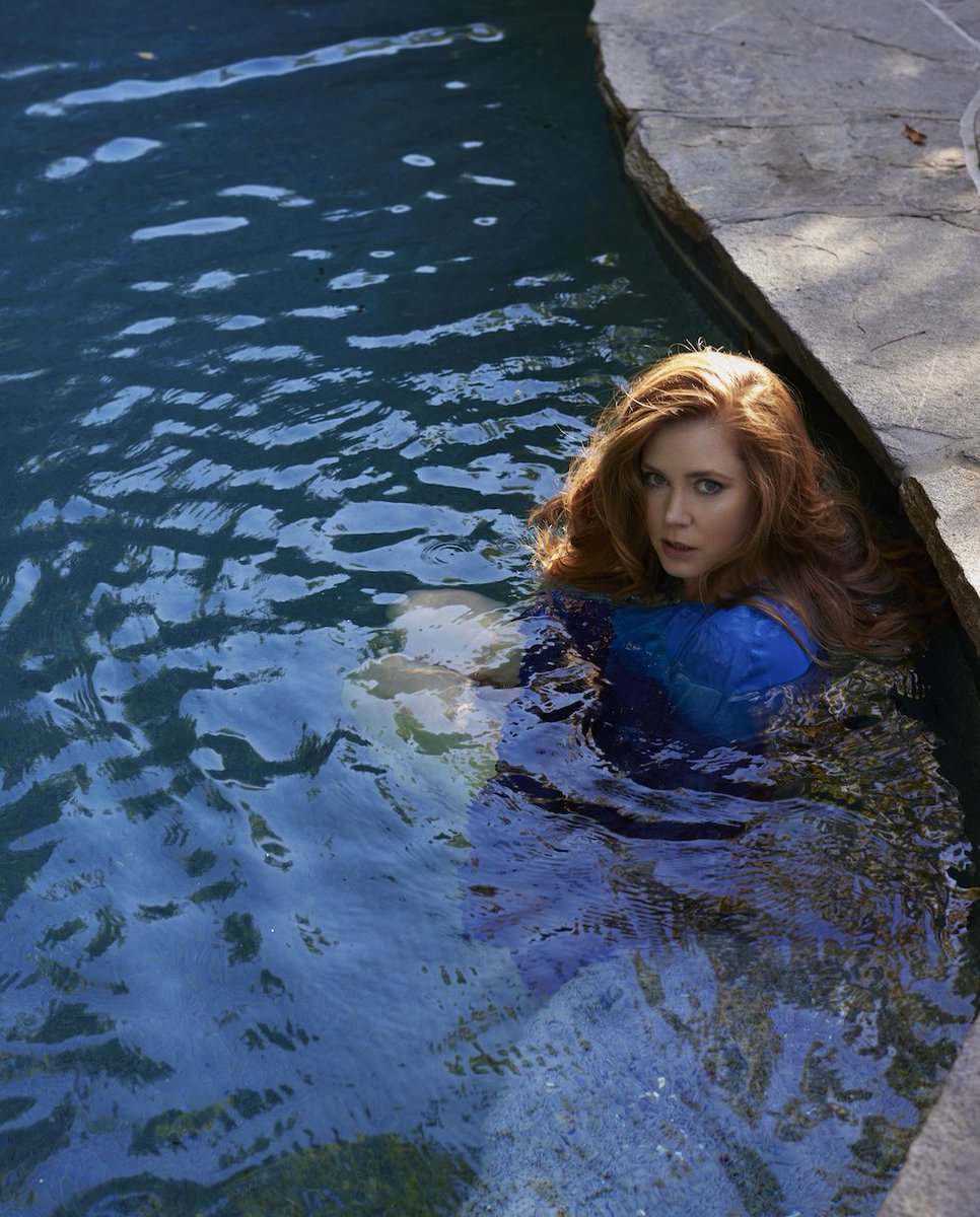 Amy Adams graces the cover of @netflixqueue, dives into her pool, and remains absolutely one of a kind