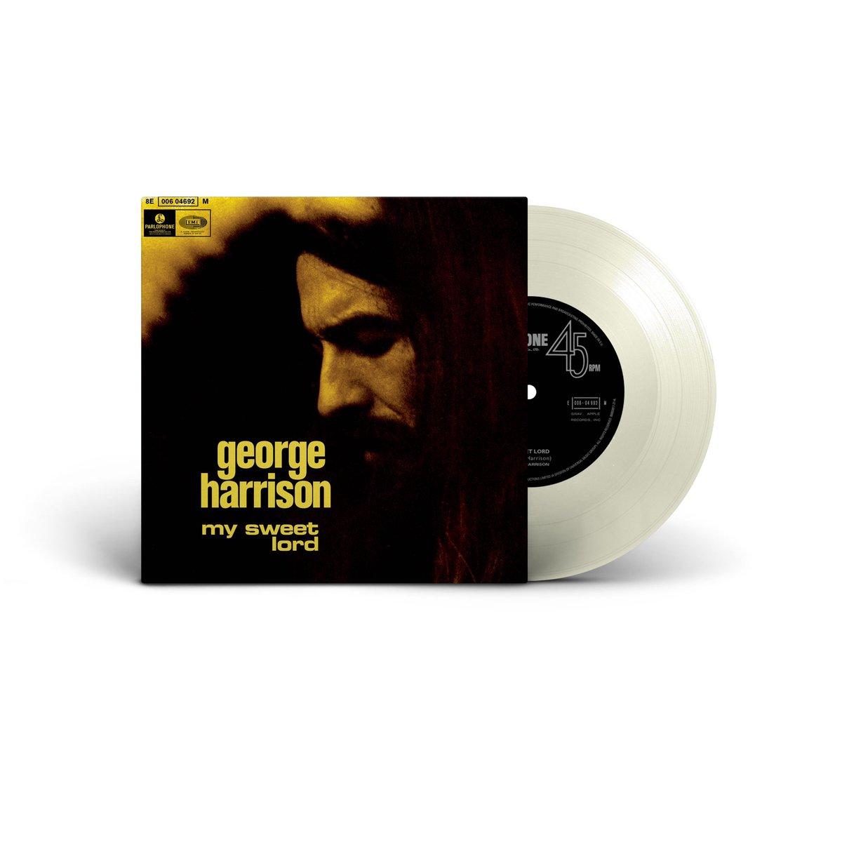 """This week marks the 50th anniversary of Georges 1970 album, All Things Must Pass, & on Black Friday, 11/27, we'll be celebrating @recordstoreday with the release of an exclusive 7"""" Clear vinyl recreation of the rare Angola pressing from 1970. GeorgeHarrison.lnk.to/MySweetLordRSD"""