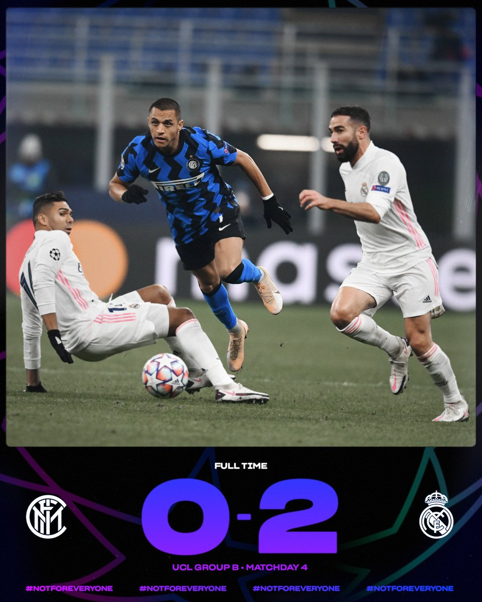 ⌛ | FULL-TIME  A second consecutive defeat in the #UCL  #InterReal 0⃣-2⃣  #FORZAINTER ⚫️🔵