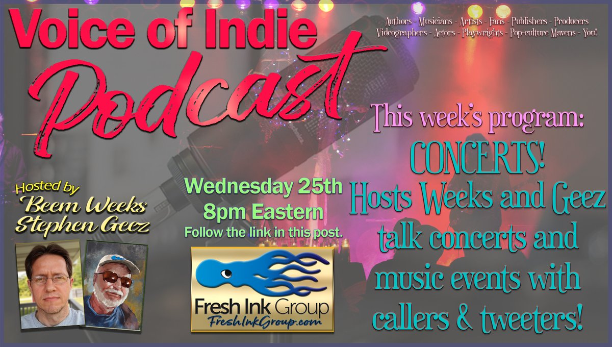 CONCERT TALK! Hosts @BeemWeeks & @StephenGeez talk #concerts! Call in with your fave #concert story. https://t.co/iuyZRBJy26 #music #musicians #rock #jazz #symphony #podcast #live #performance #venues #guitar #b #drums #keyboard #VoiceOfIndie #FreshInkGroup @FreshInkGroup https://t.co/KuuHVrumsG