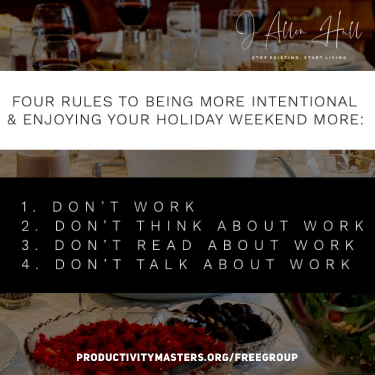 Be more intentional with your time off to enjoy it more. Your mind especially needs a change for full enjoyment and recovery. Have a happy Thanksgiving! #HappyThanksgiving #IntentionalLiving #StopExisitingStartLiving #TakeABreak #ChangeItUp