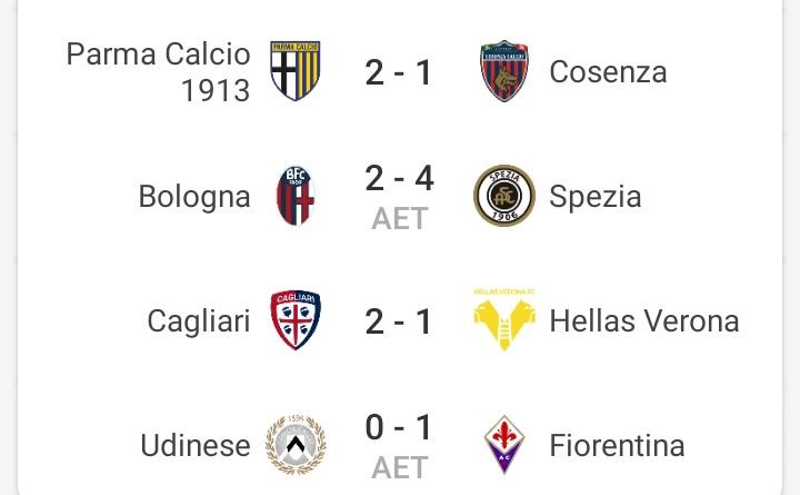 Hasil #CoppaItalia round 4  Selanjutnya Parma akan bertemu Lazio, Spezia akan bertemu AS Roma, Cagliari akan bertemu Atalanta, dan Fiorentina akan bertemu Inter. https://t.co/BWdjb1VSKa