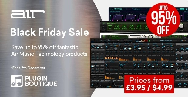 AIR Music Black Friday Sale - up to 96% Off 🥳  https://t.co/HDwwpzxKfk   @PluginBoutique #plugindeals #pluginsales #DTM #DTMer https://t.co/4AOoplVIoB