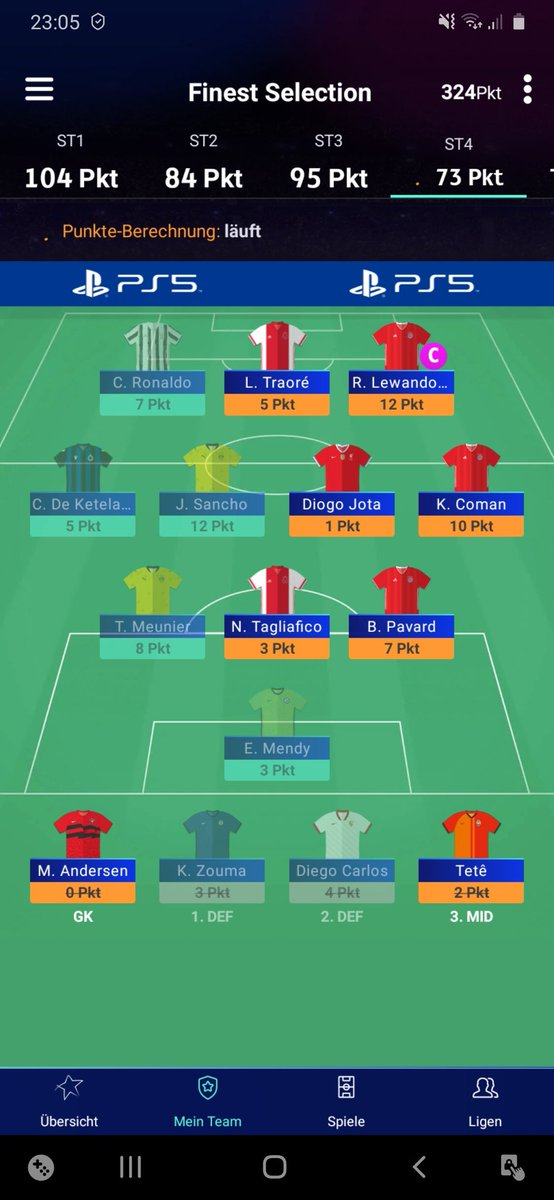 73pts in the end. Not a great week 😅 Waving goodbye to my OR 7 rank 👋😂 #UCLfantasy