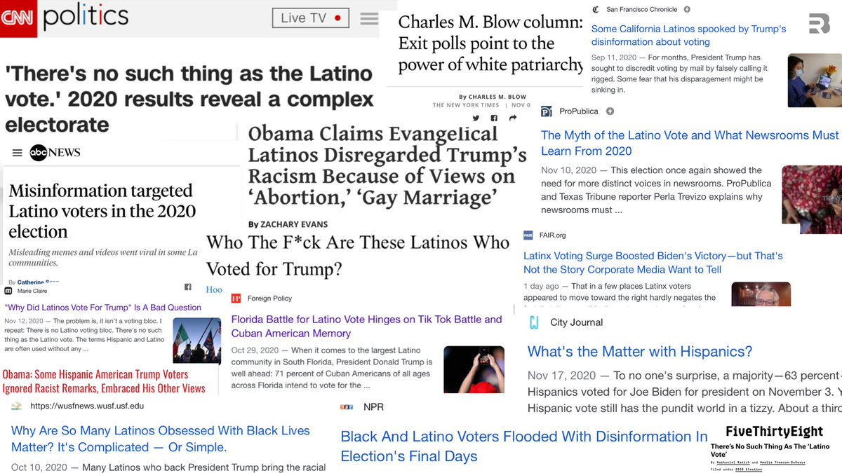 Just a partial list of leftists trying to save the narrative and explain away why so many Latinos voted for Trump.   They hate gays It's a bad question!  Latinos don't exist. White patriarchy Trump's war on Tick Tok Who the F*ck are they? Misinformation  They are racist https://t.co/SUYvoZHCXw