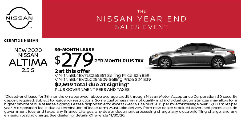 Lease a new 2020 Nissan Altima 2.5 S for just $279 per month at Cerritos Nissan! Start shopping online here: https://t.co/RDJC03p75U https://t.co/sL7t3JvBiJ