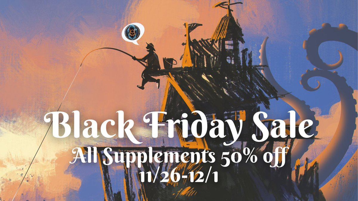 Until 12/1, all #dnd5e supplements in our @DriveThruRPG store are 50% off!  Treat yourself (or your group) this holiday weekend to new archetypes, creatures, races, locations, spells, feats, and more for your #dnd games.