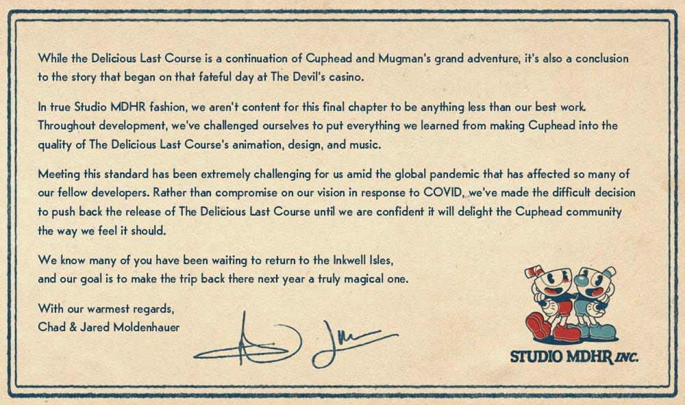 Cuphead: The Delicious Last Course sigue en desarrollo, pero se retrasa hasta 2021