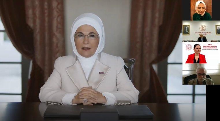 """Emine Erdoğan, """"Şiddetle Mücadelede Televizyon Dizilerinin Rolü"""" konulu programa video mesajla katıldı"""