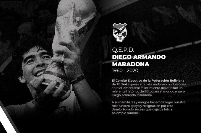 #FBF La #FBF se suma la dolor del fútbol, tras el fallecimiento de Diego Armando #Maradona