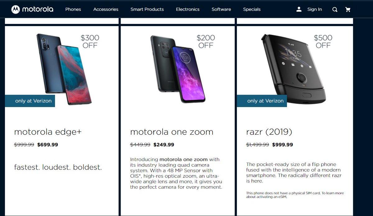 📦 منتجات  خصومات ممتازة عند شركة Motorola للهواتف Reg. :  كان بكم  razr 5G: $1,000 (Reg. $1,400)  Edge: $400 (Reg. $700) G Power: $180 (Reg. $250)  G Stylus: $200 (Reg. $300)  G Fast: $150 (Reg. $200) E: $120 (Reg. $150) G7 Power: $130 (Reg. $200)  https://t.co/hkccLwaLVw https://t.co/ecQk05QqMY