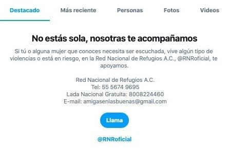 En este trabajo de concientización, nos aliamos con ONGs en el 🌎 para brindar orientación en Twitter sobre el tema.  Empezando en México, desde marzo, si buscas términos relacionados a violencia de género en Twitter, ves la información de contacto y recursos de la @RNRoficial.
