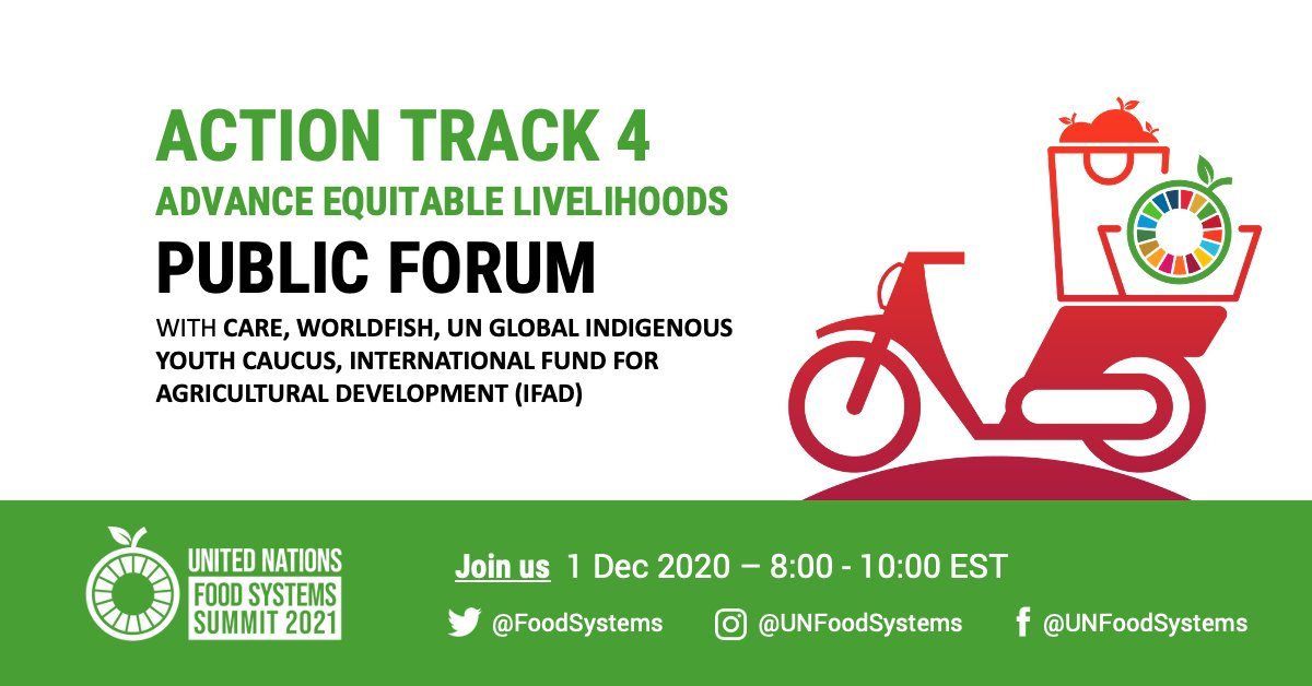 🚨 Registrations now open for the @FoodSystems Summit Action Track 4 Public Forum, hosted by @CARE @WorldFishCenter @UNGIYC & @IFAD!   📅 1 Dec 🕑 8am EST / 2pm CET ✍️  Register here:    @GAINalliance @WWF @EATforum @ICCCAD