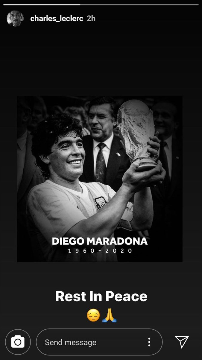 Porque ni la F1 es ajena al fallecimiento de Maradona. Carlos Sainz 🇪🇸 y Charles Leclerc 🇲🇨 se pronunciaron vía Instagram recordando al Diego.  #Maradona #F1 https://t.co/D14aU1ueo3