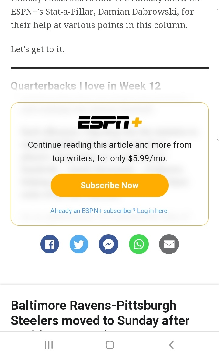 "@ESPNFantasy @espn @MatthewBerryTMR   Its #Sad. I used to be a BIG #ESPN #FantasyFootball follower... But it seems like EVERY TIME I start reading something #ESPN #fantasy related, I get hit w/ ""Subscribe Now"" #ESPNPlus"" to continue reading (Its WHY I switched to @YahooFantasy) https://t.co/2q3HQbezZr"