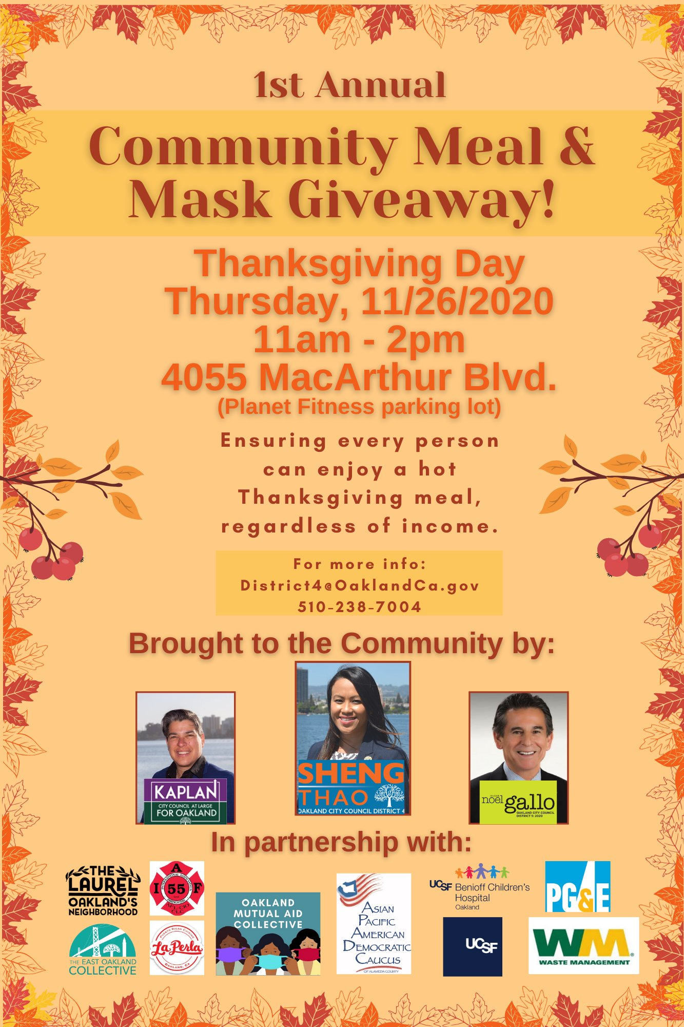 Community Meal and Mask Giveaway