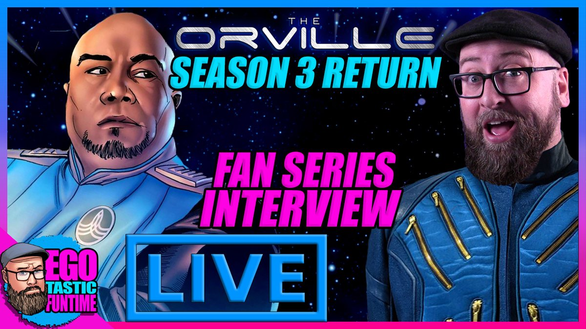 TODAY! Join Egotastic FunTime & #TheOrville fandom LIVE as we celebrate season 3 going back into production! We'll also be chatting with Eric Moran, the creator of The Orville Fan Series - A Planetary Step. 1:30pm pst