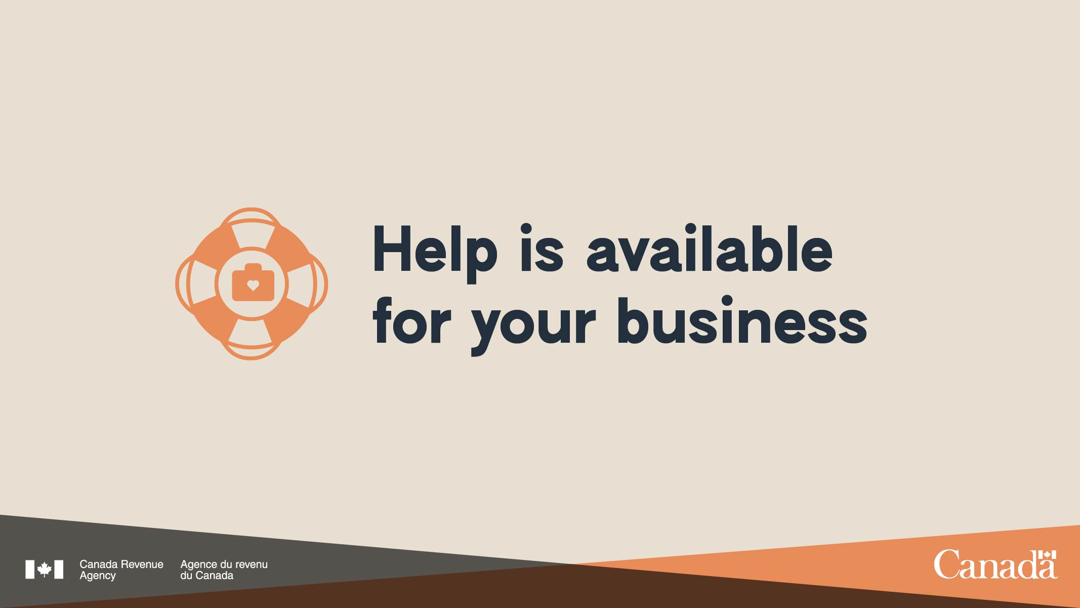 """Life preserver icon """"Help is available for your business"""""""