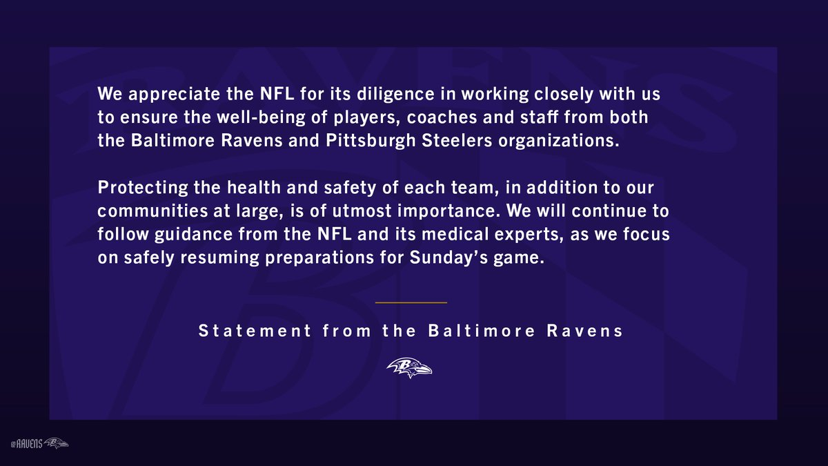 Statement from the Baltimore Ravens: