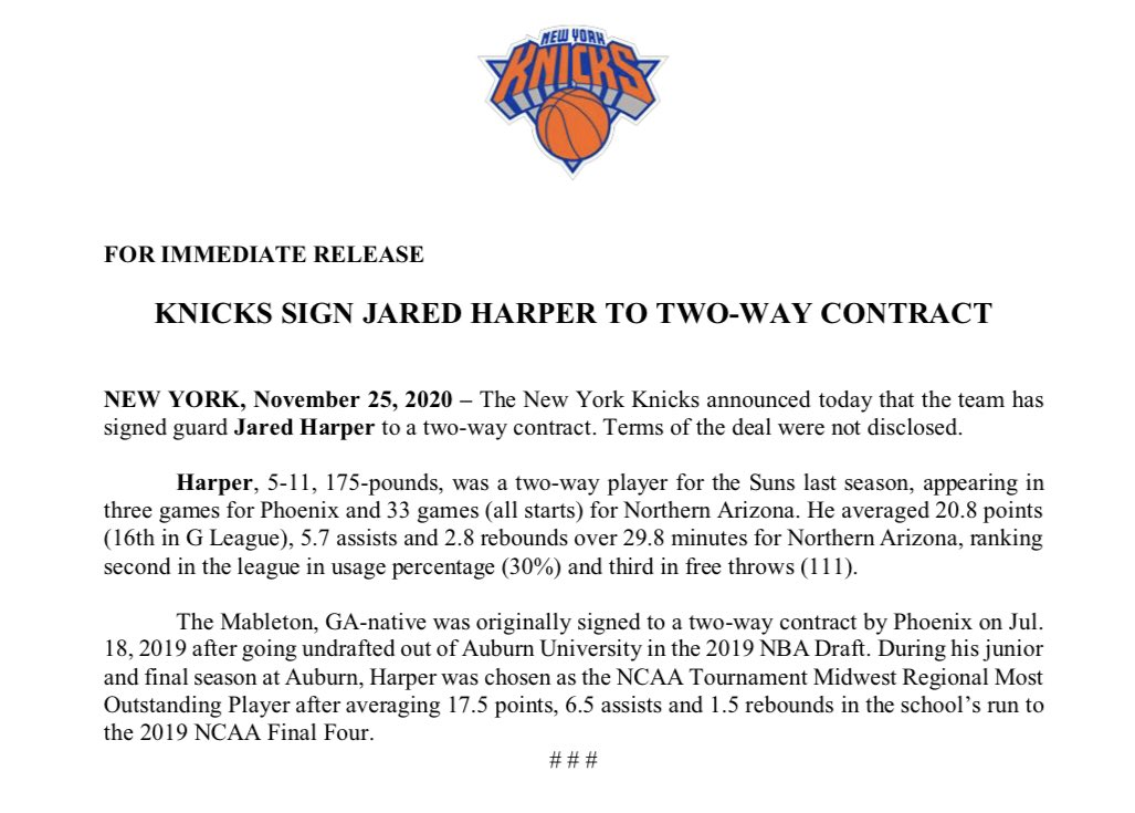 Replying to @NY_KnicksPR: .@nyknicks Sign Jared Harper to a Two-Way Contract