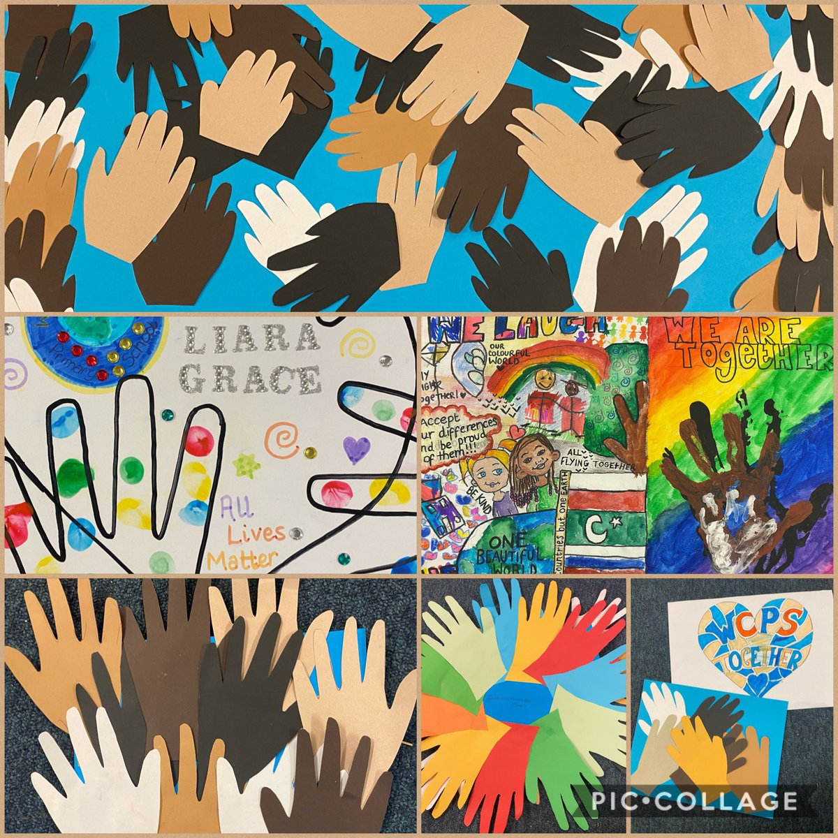We are so proud of the amazing artwork which the children from FS2 created last week, as part of the online art lesson.  Well done everyone!🤎 #AntiBullyingWeek  #BlackLivesMatter