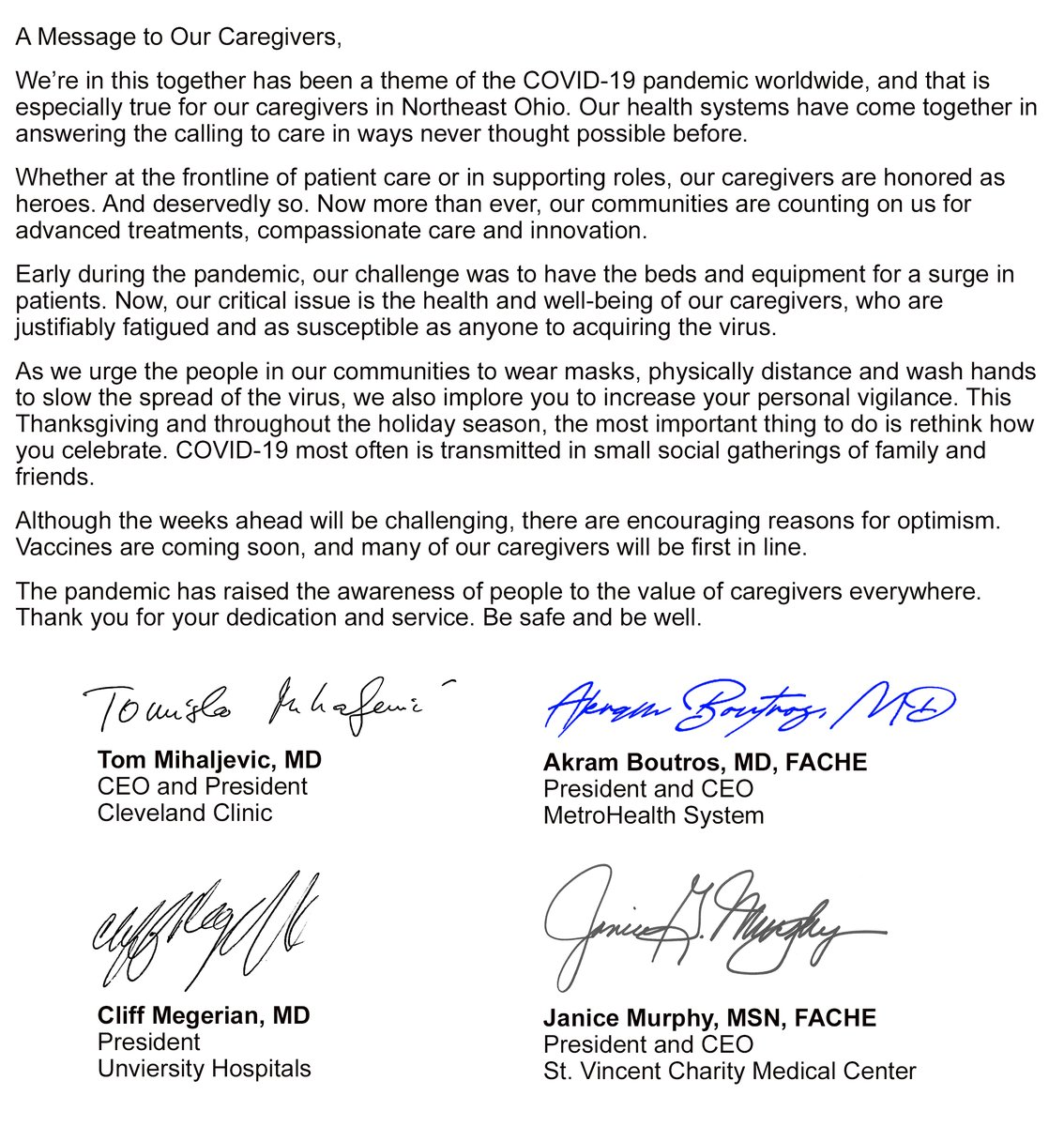 As the holiday season approaches, we join Northeast Ohio health systems in asking everyone to remain vigilant in their efforts to help stop the spread of COVID-19. It's critical to the health and well-being of our communities and our caregivers. https://t.co/2R3UwxYMwH